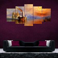 Sea Boat Split Painting 5 Frames Wall Art Panels for Living Room #005- HKTPIC-US