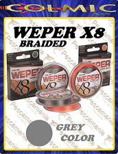 Trecciato colmic WEPER X8 fili multifibra 150 Yards - 136mt High-Grade PE GREY
