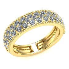 Natural 1ct Round Diamond Ladies 3Row Pave Bridal Half Eternity Ring 10k Gold