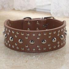 "Spiked Studded Dog Collar 2"" Leather Collars Pitbull Bully Sizes Medium Large"
