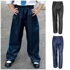 Childrens Waterproof Over Trousers 3-12yrs Childs Kids Boys Girls Rainwear Rain