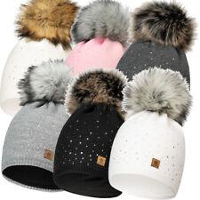 Damen Mütze Beanie Strickmütze Wintermütze Warm Bommelmütze Winter Cap 556