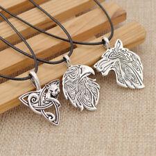 Valknut Viking Pendant Necklace Wolf Fox Eagle Crow Amulet Unisex Jewelry Gift