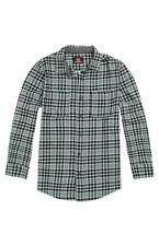 Quiksilver Woven Flannel Mens Mint Black Plaid Long Sleeve Button Up Shirt NWT