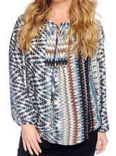 NEW - V. Vanessa Williams Woven Raglan Sleeved Shirttail Hem Tie-Neck Blouse