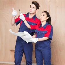 Men Women Work Uniform Short Sleeves Suit Cotton Shirt Pants Labor Overalls