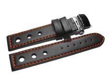 Uhrenband mit Butterfly - gelocht - glatt - schwarz rote Naht - 18,20,22,24 mm