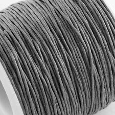 Cordón de Algodón Encerado Hilo 1mm Gris para grano encordado Hacer Pulsera Collar