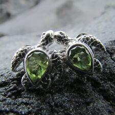 Turtle Stud Earrings. Peridot. Sterling Silver. Handmade.