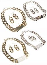 Metal ID Plate Cuban Link Choker Necklace Earrings Hollow Gold,Silver tone