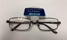 NEW Magnivision Men's Axton Rectangular Reading Glasses, Satin Brown