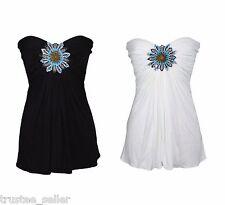 SKY Brand Women's Party Sexy Alexi Turquoise Bead Flower Black White Blouse Top