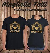 Coppia MAGLIETTE Bonnie & Clyde Stampa Oro Dorata T SHIRT Innamorati Fidanzati