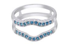 IGI Certified 1/3 Ct Blue Diamond Solitaire Wedding Ring Enhancer Wrap 10K Gold
