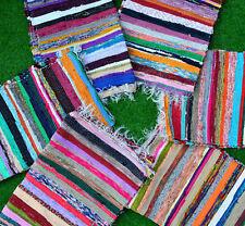 Cotton Indian Style Chindi Dari Garden Decor Woven Carpet Rugs-Throw