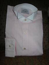 Men's TUXEDO DRESS SHIRT WITH Wing Tip Collar PINK & WHITE PROM WEDDING CRUISE