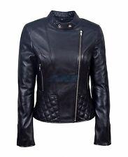 Agnes Ladies Black Stylish Fashion Designer Quilted Soft Real Leather Jacket