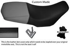 BLACK AND GREY CUSTOM FITS YAMAHA XT 660 Z XTZ 08-13 100% LEATHER SEAT COVER