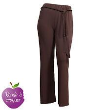 Grande taille - Pantalon fluide marron avec ceinture tressée 44 46 48 50 52 54