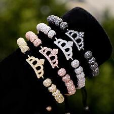 Balls Beads Macrame Adjustable Mens Bracelets Luxury Clear Zircon King Crown 6mm