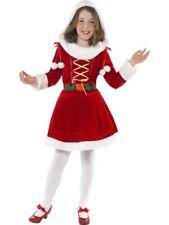 Girls Childrens Little Miss Santa Christmas Fancy Dress Costume Hooded Dress