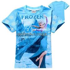 Frozen Kids T-Shirt Anna Elsa Princess Short Sleeve Cotton summer