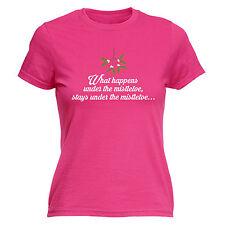 Ce qui se passe sous le misletoe T-Shirt Femme Drôle Cadeau Noël Anniversaire Cadeau