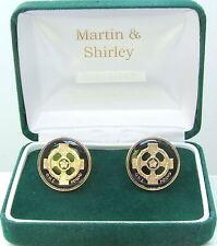 Irish Celtic Cross cufflinks real £1 coins in Black & Gold