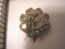 EARRINGS Screw On Gold Daughters of REBEKAH Odd Fellows Ladies NEW vintage Stone