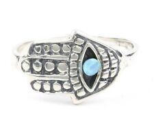 Sterling Silver Hamsa Opal Ring, Evil Eye, Hand Of Fatima, Jewish, Lab Opal