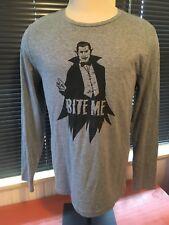 Mens City Streets Long Sleeve Bite Me Vampire Gray Shirt Multi Sizes Graphic T