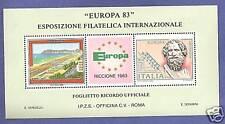 FOGLIETTO IPZS EUROPA RICCIONE 1983 FRANCOBOLLI NATURALI SHEETLET NEW RARE