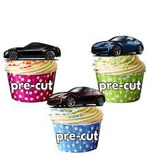 PRECUT Nissan 370z Cars Edible Cupcake Toppers Boys Mens Birthday Decorations