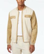 Sean John Men's Khaki Stripe Lightweight Linen Blend Colorblocked Bomber Jacket