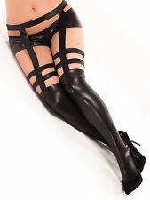 Sans Orteils Wet Look Stockings avec festonné Dentelle Silicone Grip Tops Hold Ups PVC