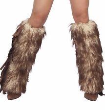 J Valentine Brown Mohair Faux Fur & Suede Fringe Legwarmer Costume Accessory 562