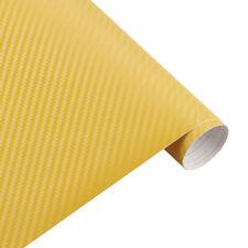 3d CARBONO AMARILLO Lámina COCHE SIN BURBUJAS Aplicación Adhesiva