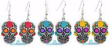 Bluebubble DIA DE LOS MUERTOS Sugar Skull Emo Earrings Day Of The Dead Skeleton