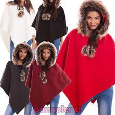 Poncho donna giacca coprispalle giacca cappuccio eco pelliccia nuovo AS-2346