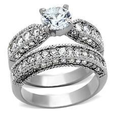 3 CT Anillos de acero para compromiso y de bodas y promesa y matrimonio 2 pieces