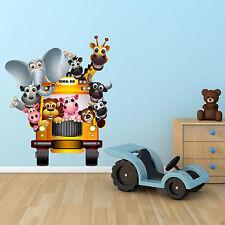 Todo Color animales del zoológico Bus salvaje dibujos animados Pared Adhesivo Calcomanía transferencia WSD232