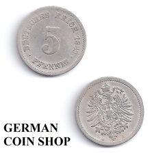 5 Pfennig 1874 - 1889 A B C D E F G H J - bitte auswählen/please select