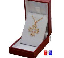 Pendentif croix occitane du languedoc neuf en plaqué or avec chaine boite