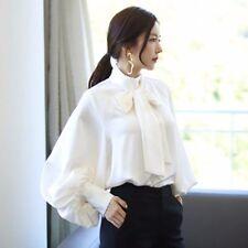 Lady Chiffon Shirt Bowtie Lantern Long Sleeve Baggy Casual Victorian Tops Blouse