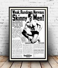 Skinny Men : Vintage Newspaper advertising, Wall art ,poster, Reproduction.