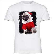 Pug Dressed As Santa Christmas Mens Cotton T-Shirt