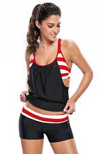 Women Swimwear Stripe Print Layered Style Swimsuit Shorts Tankini Two Piece Set