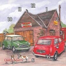 Two (2) classic Mini's by Sue Podbery Handmade Wall Clock