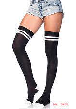 SEXY calze autoreggenti Atletiche Strisce Costine Nero/Bianche Lingerie GLAMOUR