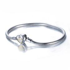 Charm Bracelet Heart Clasp Sterling Silver Gift For Women Gold, Rose Gold- KIGU
